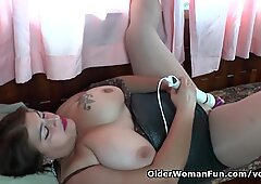 Latina BBW milf Carmen puts her toy collection to good use