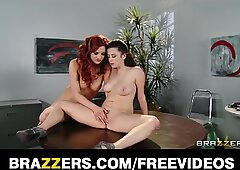 Dominant lesbian convinces her co-worker to experiment