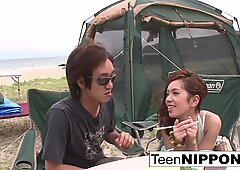 Japanese girlfriend blows her guy