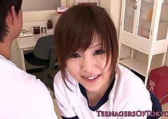 Kinky Japanese schoolgirl pussy pleasured