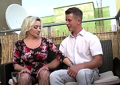 Busty mature mom seduces lucky young boy