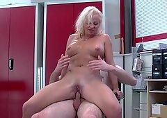 Grandma enjoys orgy in the office