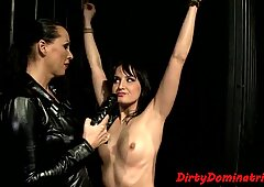 Restrained subs pussy drilled with dildo