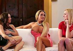 Naughty mommies Abigail Mac and Tegan James eat minge of teen Kate England