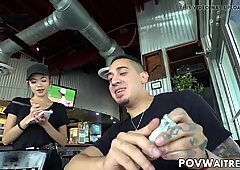 Young Asian waitress Vina Sky does anything for extra cash