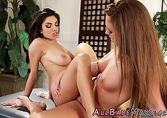 Big tits massaged lesbian