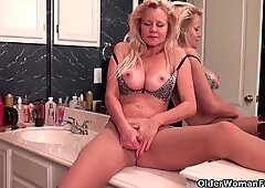 Mom's new pantyhose gets her all hot and horny