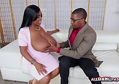 Juicy black momma plays with her tits in the shower