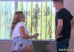 Naughty blonde Blair Williams slurps on a big dick