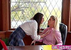 Schoolgirl Shyla Jennings seduces lesbian principal India Su