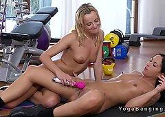 Naked lesbians tribbing at the gym