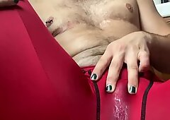 Hairy Pussyboy Plays with Wet Pussy thru Spandex Leggings