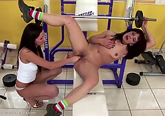 Mature mummy fisted by young woman in gym