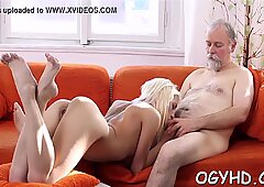 Youthful pussy filled by old ramrod