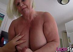 Chubby granny gobbles