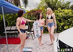 huge-chested cougar Diamond Foxxx scorching carwash pulverize