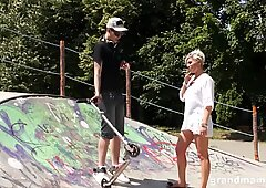 Hot old tattooed slut fucking a hard young skateboarder