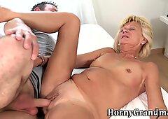 Old blonde gets pounded