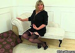 British milfs Lulu Lush and Alisha Rydes in stockings