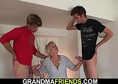 very hot blonde granny takes double penetration