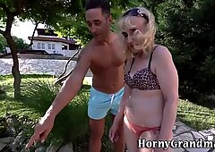 Granny with saggy tits gets fucked