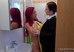 Fake big tits redhead lesbian at casting