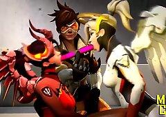 Overwatch Mercy Lesbian Futa english