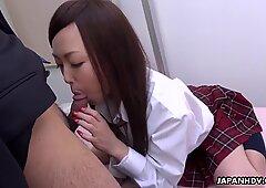 Japanese schoolgirl, Nana Sasaki sucks dick, uncensored