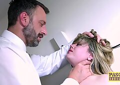 Submissive English babe dommed and fed with masters cum