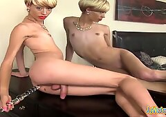 Blonde Tranny with big bald cock Toying Asshole