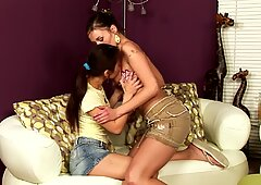 Cute girls with dark hairy fondle and lick vag Report this video