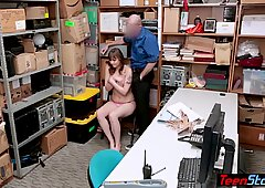 Big titted chubby thief got caught and fucked by a cop