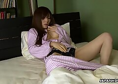 Asian wife toy fucking her pussy before sleep