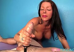MILF masseuse titfucking and jerking cock