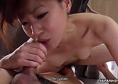 Japanese brunette, Asuka Kyono fucks her ex, uncensored