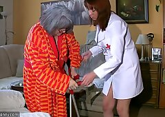 OldNanny BBW chubby Nurse masturbate with old Granny