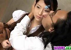 Asian AV Model is licked all over