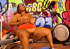 BBW Busty Cookie Works Out!