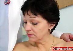 Unshaven housewife Eva visits gyno doc fuck hole inspec