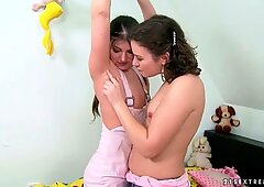 Hairy girls having fun and peeing on each other