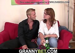 Old drunk mature woman picked up and fucked