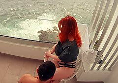 first sex on Vacation - He cums in 30 SECONDS! Hotel Balcony Ginger PAWG