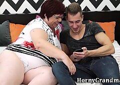 Huge fat granny spits cum
