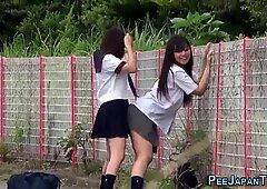 Naughty japanese students urinating