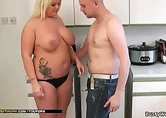 Big tits blonde takes it from behind for cash