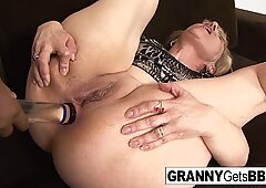 Mature takes a facial after BBC anal
