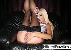 Big boob Nikita Von James plays with herself