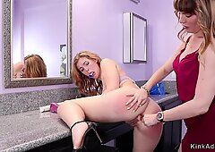 Lesbian teen anal fucked by step mom