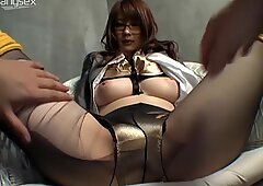 Japanese sexy nerd in glasses wanna rub her wet cunt at home