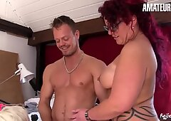 AmateurEuro - Hot GILF Hiltrude Shares Bodo's Cock With BFF